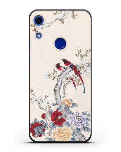 Чехол Цветы и птицы силикон черный для Honor 8A