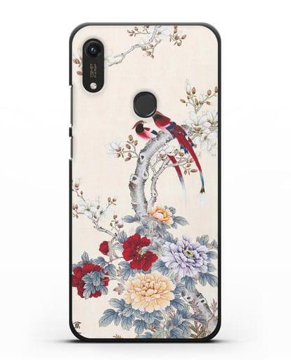 Чехол Цветы и птицы силикон черный для Honor 8A Prime