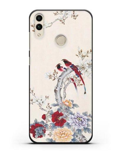 Чехол Цветы и птицы силикон черный для Honor 8C