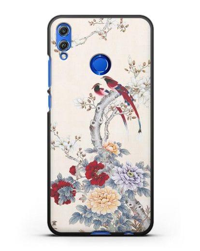 Чехол Цветы и птицы силикон черный для Honor 8X