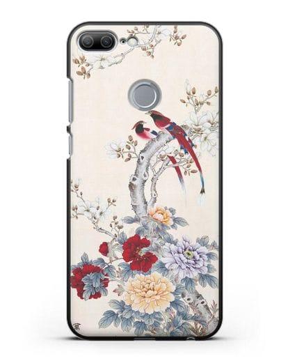 Чехол Цветы и птицы силикон черный для Honor 9 Lite