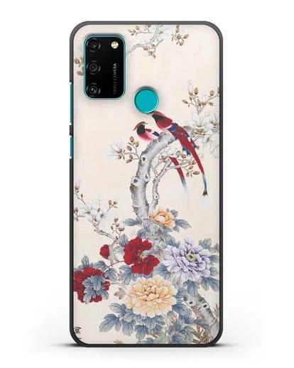 Чехол Цветы и птицы силикон черный для Honor 9A