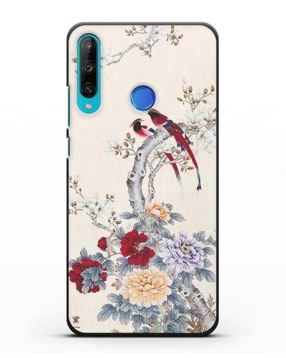 Чехол Цветы и птицы силикон черный для Honor 9C