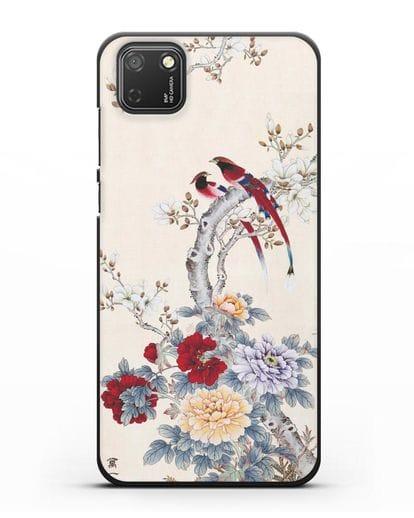 Чехол Цветы и птицы силикон черный для Honor 9S