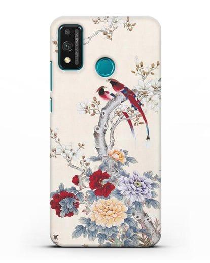 Чехол Цветы и птицы силикон черный для Honor 9X lite