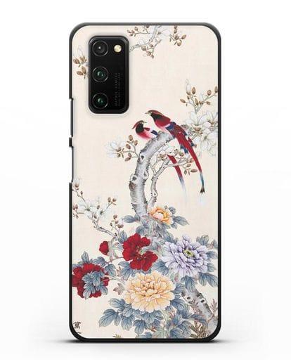 Чехол Цветы и птицы силикон черный для Honor View 30 Pro