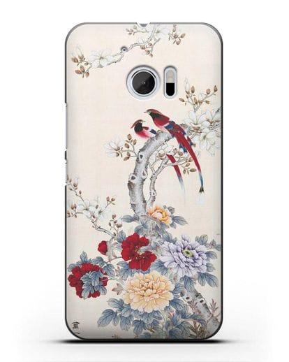 Чехол Цветы и птицы силикон черный для HTC 10