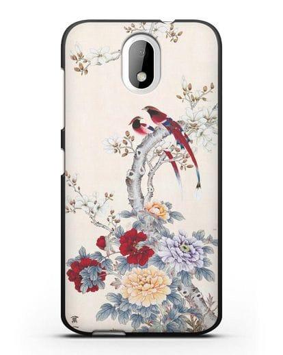 Чехол Цветы и птицы силикон черный для HTC Desire 326
