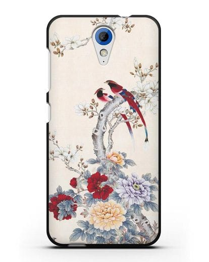 Чехол Цветы и птицы силикон черный для HTC Desire 620