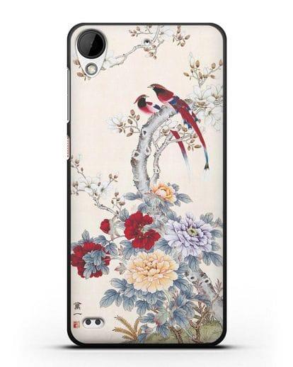 Чехол Цветы и птицы силикон черный для HTC Desire 630