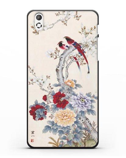 Чехол Цветы и птицы силикон черный для HTC Desire 816