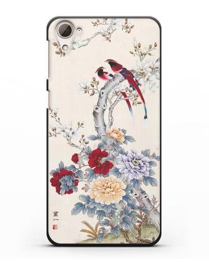 Чехол Цветы и птицы силикон черный для HTC Desire 826