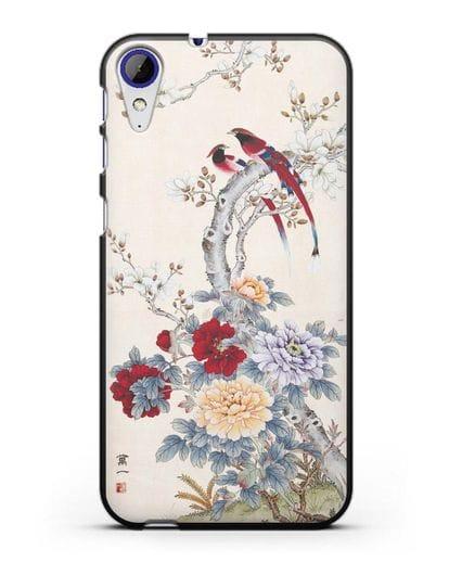 Чехол Цветы и птицы силикон черный для HTC Desire 830