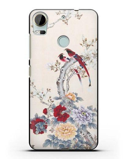 Чехол Цветы и птицы силикон черный для HTC Desire 10 Pro