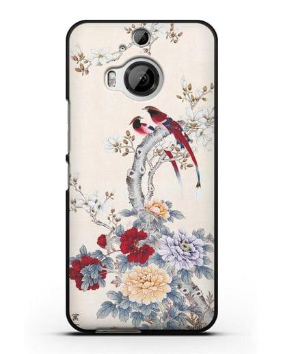 Чехол Цветы и птицы силикон черный для HTC One M9 Plus