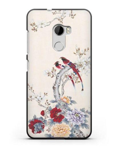 Чехол Цветы и птицы силикон черный для HTC One X10