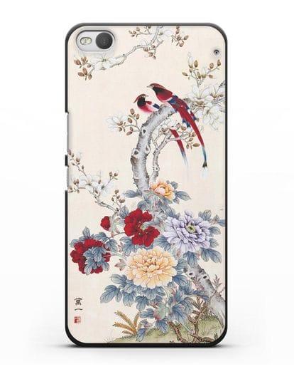 Чехол Цветы и птицы силикон черный для HTC One X9