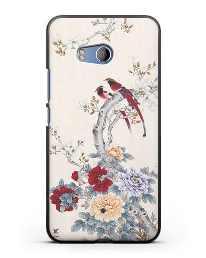 Чехол Цветы и птицы силикон черный для HTC U11