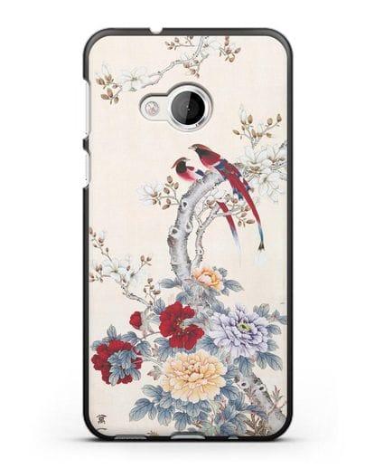 Чехол Цветы и птицы силикон черный для HTC U Play