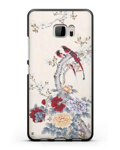 Чехол Цветы и птицы силикон черный для HTC U Ultra