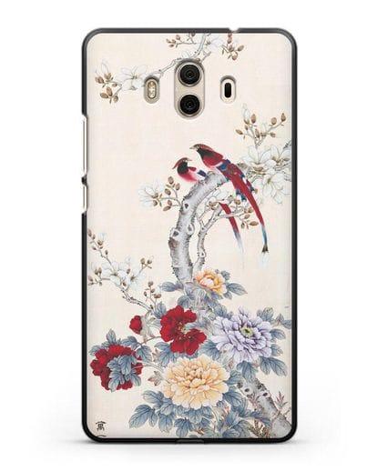 Чехол Цветы и птицы силикон черный для Huawei Mate 10