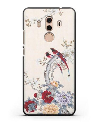 Чехол Цветы и птицы силикон черный для Huawei Mate 10 Pro