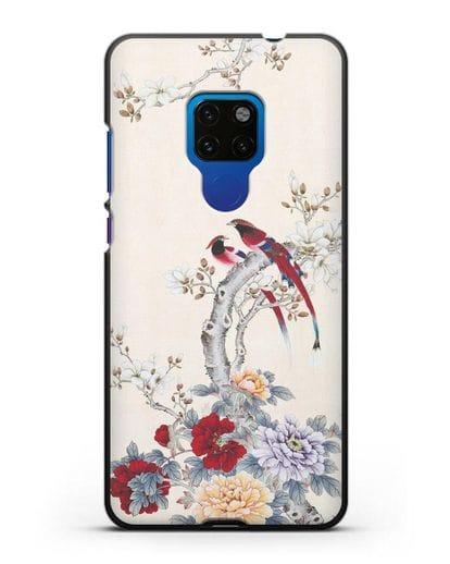 Чехол Цветы и птицы силикон черный для Huawei Mate 20