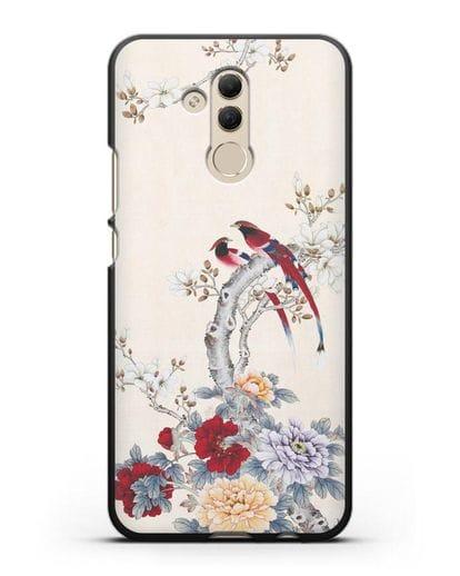 Чехол Цветы и птицы силикон черный для Huawei Mate 20 Lite