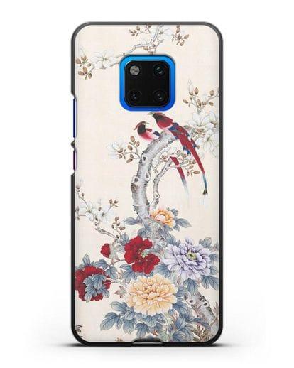 Чехол Цветы и птицы силикон черный для Huawei Mate 20 Pro