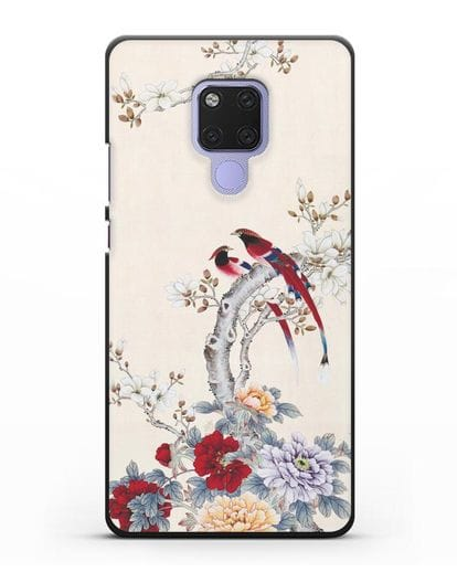 Чехол Цветы и птицы силикон черный для Huawei Mate 20X