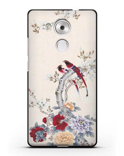Чехол Цветы и птицы силикон черный для Huawei Mate 8