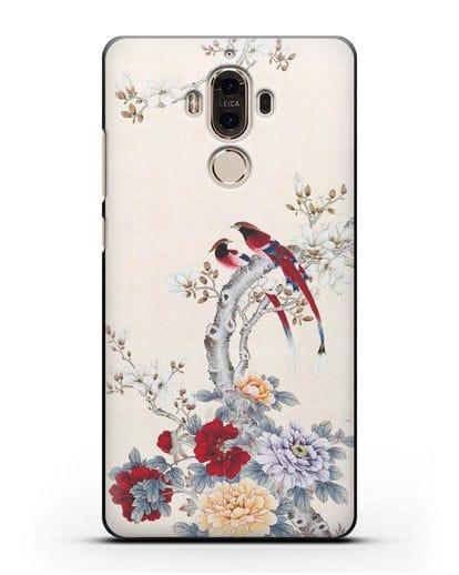 Чехол Цветы и птицы силикон черный для Huawei Mate 9