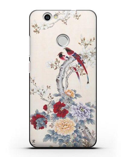 Чехол Цветы и птицы силикон черный для Huawei Nova