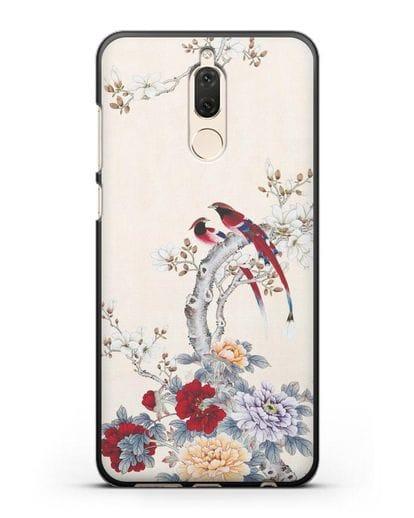Чехол Цветы и птицы силикон черный для Huawei Nova 2