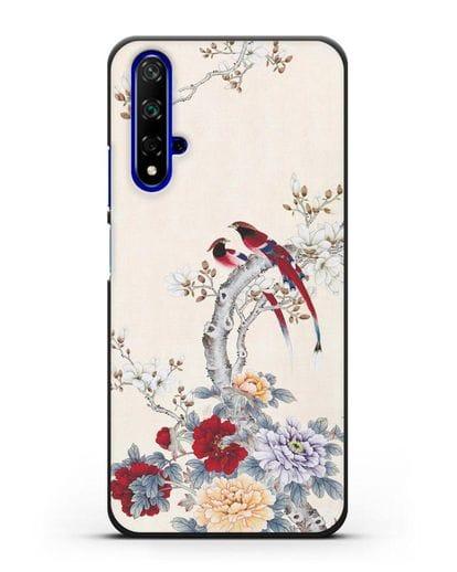 Чехол Цветы и птицы силикон черный для Huawei Nova 5T
