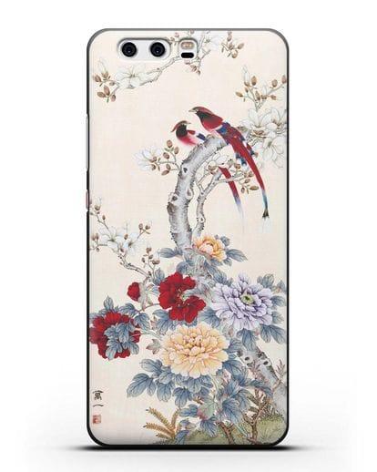 Чехол Цветы и птицы силикон черный для Huawei P10