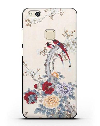 Чехол Цветы и птицы силикон черный для Huawei P10 Lite
