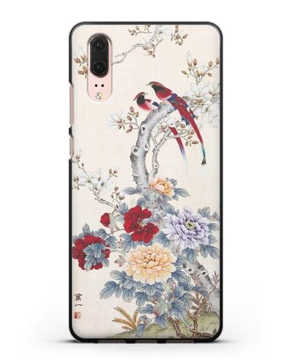 Чехол Цветы и птицы силикон черный для Huawei P20