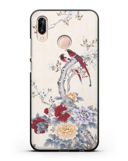 Чехол Цветы и птицы силикон черный для Huawei P20 Lite