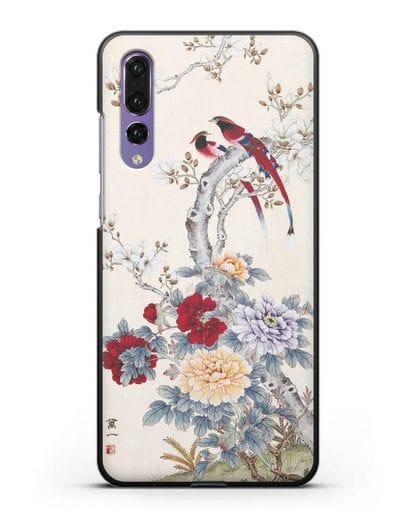 Чехол Цветы и птицы силикон черный для Huawei P20 Pro
