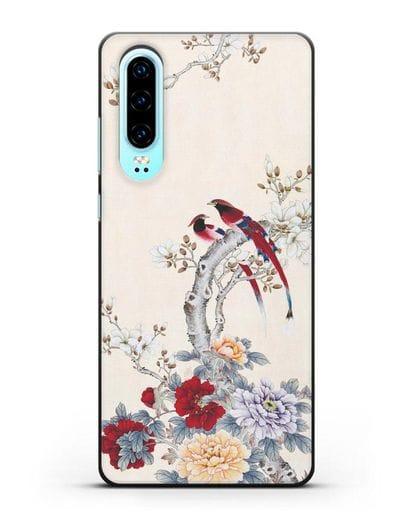 Чехол Цветы и птицы силикон черный для Huawei P30