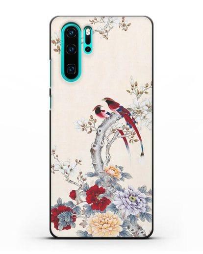 Чехол Цветы и птицы силикон черный для Huawei P30 Pro