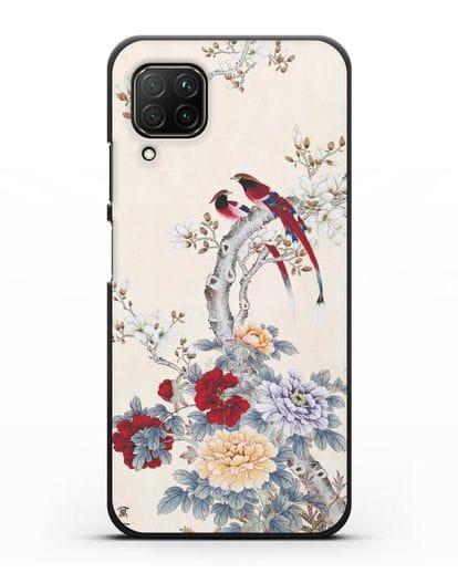 Чехол Цветы и птицы силикон черный для Huawei P40 lite