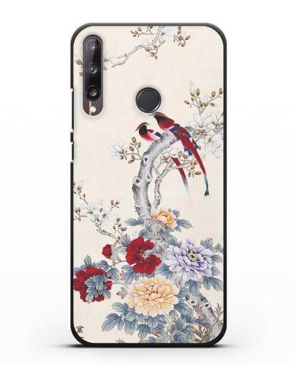 Чехол Цветы и птицы силикон черный для Huawei P40 lite E