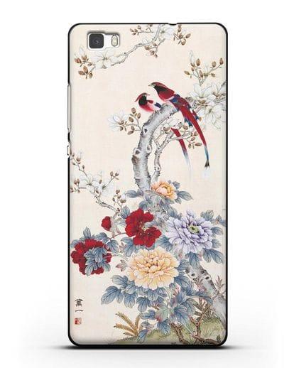 Чехол Цветы и птицы силикон черный для Huawei P8 Lite