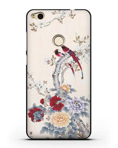 Чехол Цветы и птицы силикон черный для Huawei P8 Lite 2017
