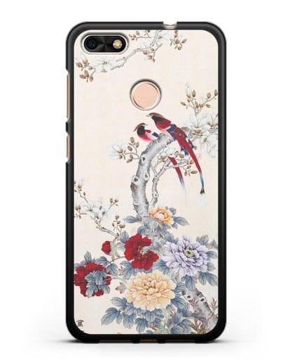 Чехол Цветы и птицы силикон черный для Huawei P9 Lite mini