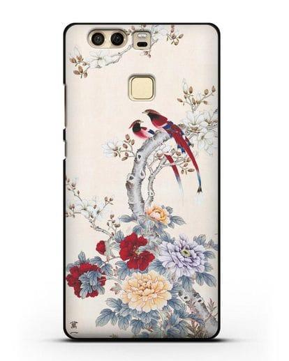 Чехол Цветы и птицы силикон черный для Huawei P9 Plus