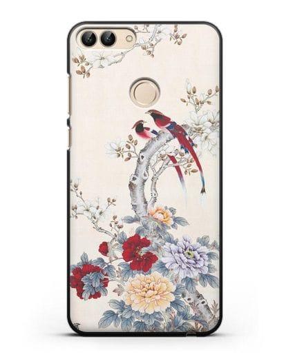 Чехол Цветы и птицы силикон черный для Huawei P Smart