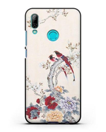 Чехол Цветы и птицы силикон черный для Huawei P Smart 2019